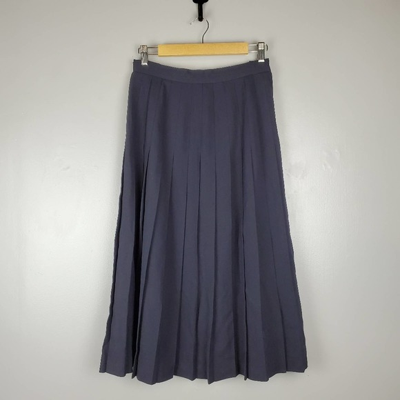 Austin Reed Skirts Vintage Austin Reed Pleated Wool Navy Midi Skirt Poshmark